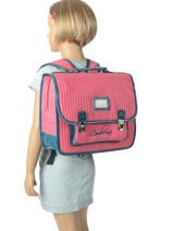 Satchel 2 Compartments Cameleon Pink retro vinyl REV-CA35-vue-porte