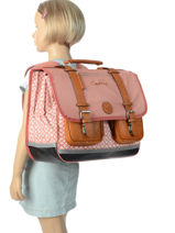 Satchel 3 Compartments Cameleon Pink vintage VINCA41-vue-porte