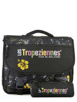 Cartable 2 Compartiments Avec Trousse Offerte Les tropeziennes Noir wissant WIS04