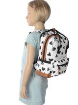 Backpack Mini Kidzroom White black and white 30-8975-vue-porte