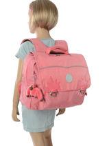 Satchel 1 Compartment Kipling Pink back to school capsule 82-vue-porte