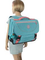 Satchel 2 Compartments Kipling Blue back to school 12074-vue-porte