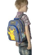 Sac A Dos Pikachu Pokemon Gris pika pika 160-8479-vue-porte