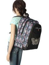 Backpack 2 Compartments Little marcel Black baia BA03-vue-porte