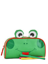 Pencil Case 1 Compartment Animal Green kids KIDEI01-vue-porte