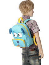 Backpack Mini Animal Green kids KIDEI02-vue-porte