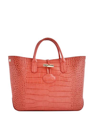 Longchamp Roseau style croco Handbag Red