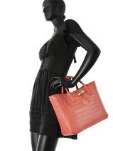 Longchamp Roseau style croco Handbag Red-vue-porte