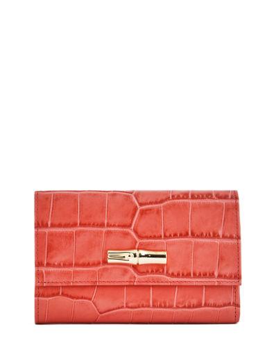 Longchamp Roseau style croco Portefeuilles Rouge