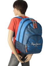 Backpack 2 Compartments Pepe jeans Blue fabio 60924-vue-porte