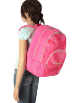 Backpack 2 Compartments Pepe jeans Pink kasandra 60624-vue-porte