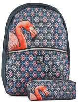 Backpack 2 Compartments With Free Pencil Case Laissez lucie faire Blue spring LFE12090