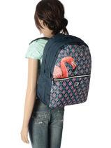 Backpack 2 Compartments With Free Pencil Case Laissez lucie faire Blue spring LFE12090-vue-porte