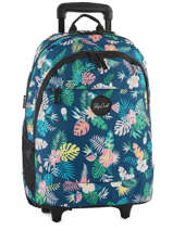 Wheeled Backpack 2 Compartments Rip curl Blue flora LBPGR1