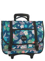 Wheeled Schoolbag 2 Compartments Rip curl Blue flora LBPGS1