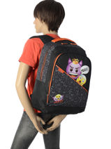 Backpack 1 Compartment With Free Pencil Case Emoji Black afraid EMR12011-vue-porte