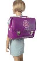 Satchel 2 Compartments With Free Pencil Case Lulu castagnette Violet vinyle LYE13007-vue-porte