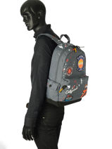 Sac A Dos 1 Compartiment Superdry Gris backpack men M91013NQ-vue-porte