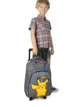 Wheeled Backpack Pokemon Gray pika pika 160-8487-vue-porte