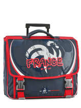 Cartable A Roulettes 2 Compartiments Federat. france football Bleu equipe de france 183X203R