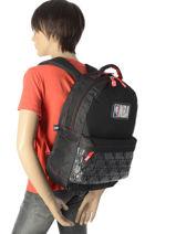 Backpack 2 Compartments Nba Black basket 183N204D-vue-porte