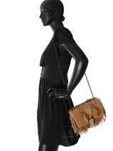 Longchamp Amazone folk Besaces Beige-vue-porte
