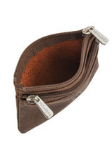 Purse Zippered Leather Hexagona Brown instinct 667292-vue-porte