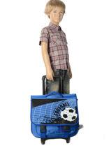 Cartable à Roulettes Miniprix Bleu football 1802T-vue-porte