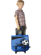 Wheeled Schoolbag Miniprix Blue football 1802T-vue-porte