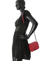 Sac Bandoulière Quilted Studs Cuir Karl lagerfeld Rouge quilted studs 86KW3014-vue-porte