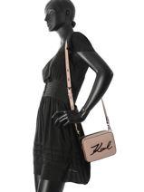 Crossbody Bag K Signature Leather Karl lagerfeld Pink k signature 81KW3050-vue-porte