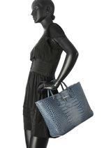 Longchamp Roseau style croco Sacs porté main Bleu-vue-porte