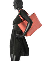 Longchamp Roseau style croco Hobo bag Red-vue-porte