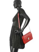 Shoulder Bag Parisienne Matelasse Leather Lancaster Red parisienne matelasse 521-94-vue-porte