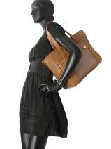 Sac Shopping Dolores Cuir Nat et nin Jaune vintage DOLORES-vue-porte