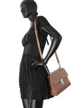 Shoulder Bag Smooth Tina Leather Lancaster Brown smooth tina 528-58-vue-porte