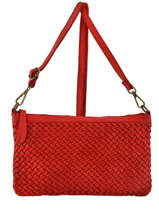 Shoulder Bag Dewashed Leather Milano Red dewashed TR17116