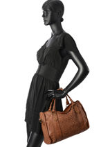 Sac Porté Main Twist Cuir Basilic pepper Marron twist BTWI02-vue-porte