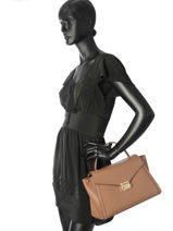Large Leather Whitney Satchel Michael kors Brown m group T8GXIS3L-vue-porte