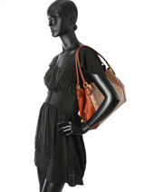 Edie Signature Canvas Shopper Leather Coach Brown edie 30220-vue-porte