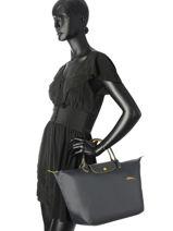 Longchamp Le pliage club Handbag Gray-vue-porte