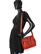 Shoulder Bag Charlie Leather Lancel Red charlie A06839-vue-porte