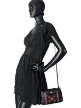 Longchamp Le pliage cuir rosace Sacs porté travers Noir-vue-porte