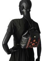 Longchamp Le pliage cuir rosace Sac à dos Noir-vue-porte