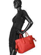 Longchamp Pénélope Sacs porté main Rouge-vue-porte