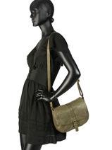 Shoulder Bag Classic Leather Basilic pepper White classic BCLA07-vue-porte