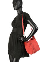 Fold Suède Bucket Bag Gerard darel Red folk DJS17407-vue-porte