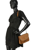 Shoulder Bag Velvet Leather Milano Brown velvet VC180602-vue-porte
