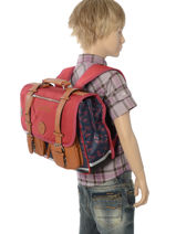 Satchel For Boys 2 Compartments Cameleon Blue vintage print boy VIB-CA35-vue-porte