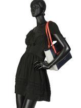 Shoulder Bag Constance Leather Lancaster Blue constance 437-12-vue-porte